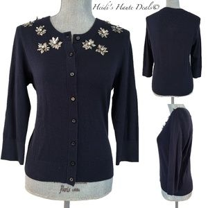 Kate Spade Navy Snowflake Sequin Cardigan M (6-8)